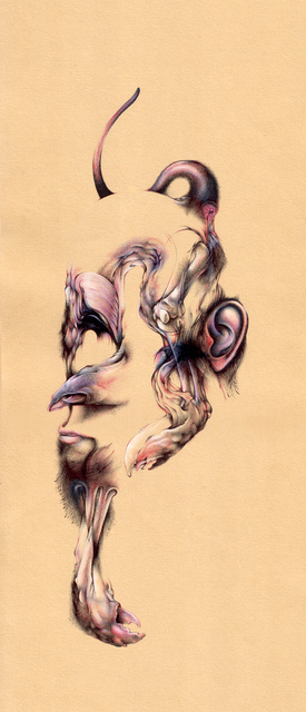 "Stranger Danger - Left, 7.5""x19.5"", Ballpoint, mixed media on paper, 2007"