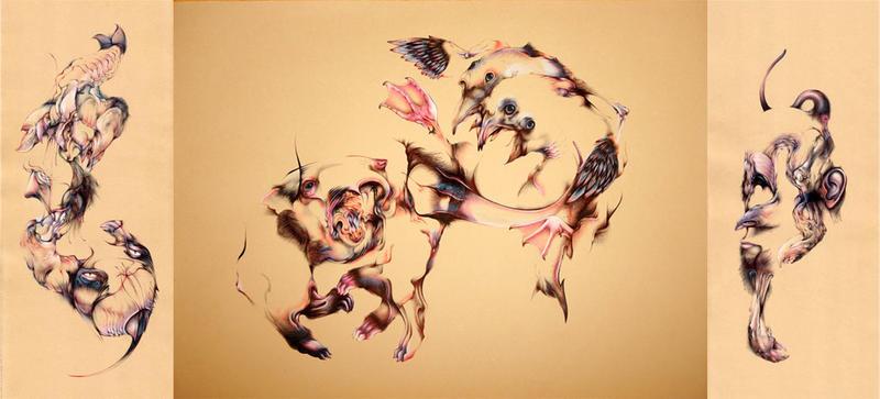 "Stranger Danger - Triptych, 7.5""x19.5"", 19.5""x25.5"", 7.5""x19.5"" Ballpoint, mixed media on paper, 2007"