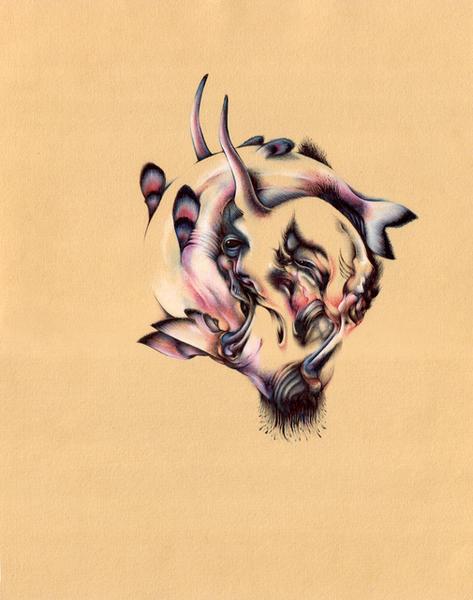 "Ironic Mustache, 11""x14"", Ballpoint, mixed media on paper, 2007"