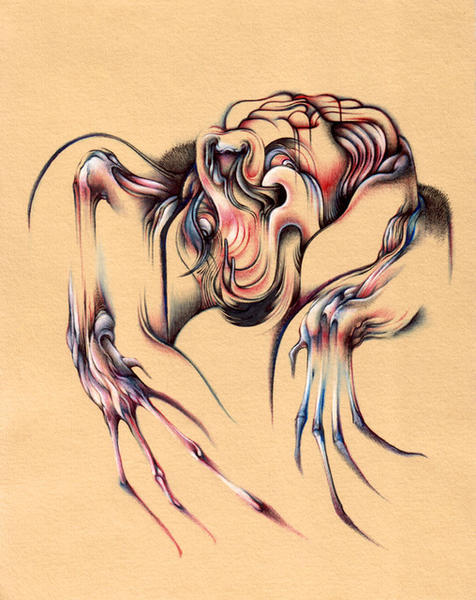 "Bezier BAT, 8""x10"", Ballpoint, mixed media on paper, 2008"