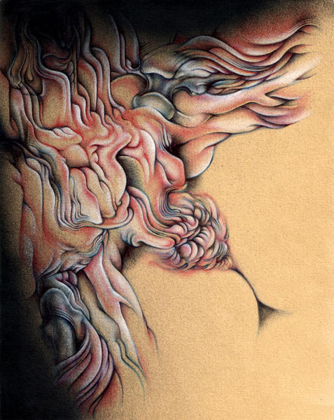 "Grafuck, 8""x10"", Ballpoint, spraypaint, mixed media on paper, 2008"