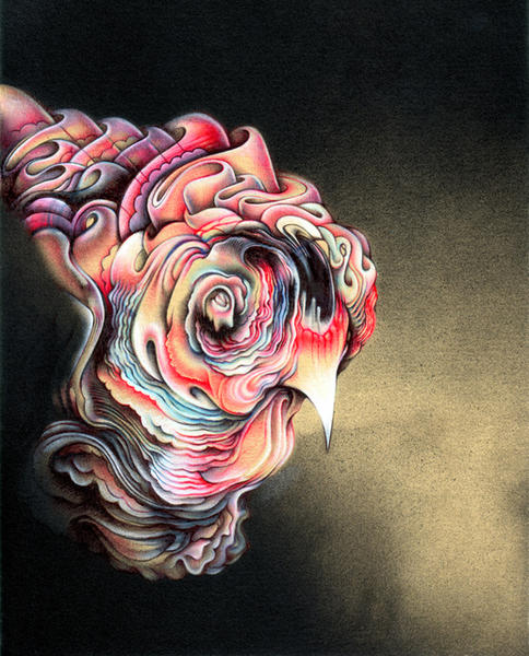 "Big Chicken, 8""x10"", Ballpoint, spraypaint, mixed media on paper, 2010"