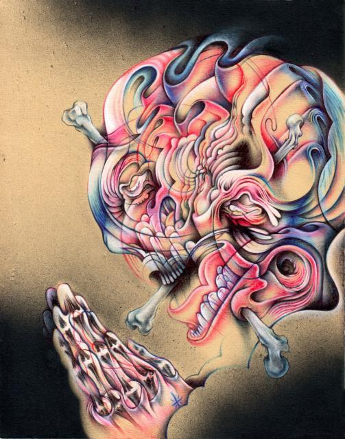 "Lost Hope, Found Faith, 8""x10"", Ballpoint, spraypaint, mixed media on paper, 2011"