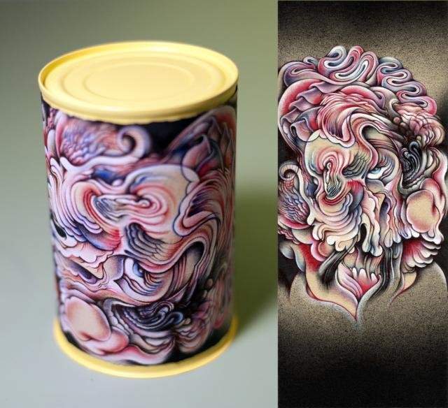 """I Like Soup: Cream of Zombie Marilyn, 4""""x9.25"""", Ballpoint, spraypaint, mixed media on soup can, 2012"""