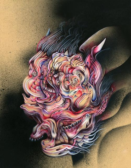 "Immolate, 11""x14"", Ballpoint, spraypaint, mixed media on paper, 2012"