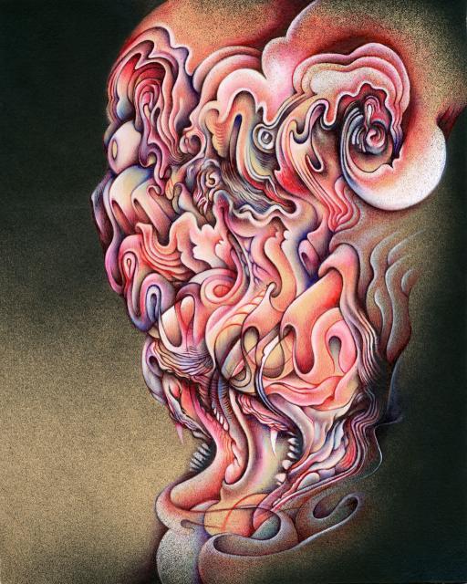 """Morgon Fromon, 8""""x10"""", Ballpoint, spraypaint, mixed media on paper, 2013"""