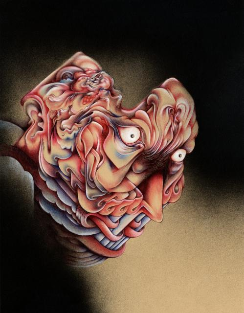 "Sins of the Flesh, 11""x14"", Ballpoint, spraypaint, mixed media on paper, 2015"