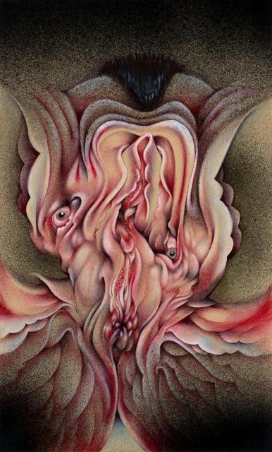 "Send Nudes, 6""x10"", Ballpoint, spraypaint, mixed media on paper, 2017"